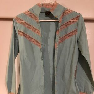 NWT Muted Teal & Tan Lace Shirt